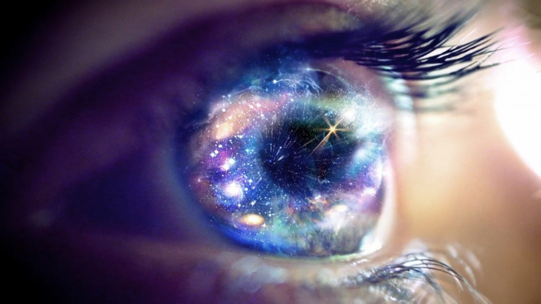 eyes outer space stars galaxies