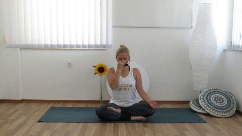 Nadi shodana pranayama in raja meditacija.